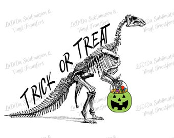 Skeleton Dinosaur Trick or Treat Sublimation Transfers - Carrying Green Candy Pumpkin Bucket