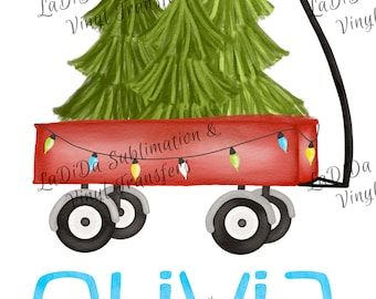 Personalized Watercolor Wagon Pulling Christmas Trees Sublimation Transfers Christmas Lights Kid Child Watercolor