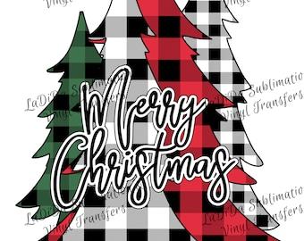 Merry Christmas Trees Buffalo All Plaid  VINYL Transfers Christmas Black Green Red Plaid  with MaskHTV HTV  Iron On