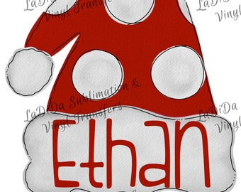 Personalized Watercolor Kids Santa Hat VINYL Transfers Christmas Red Polka Dots Boy  with MaskHTV HTV  Iron On
