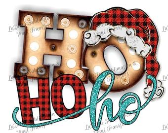 Ho Ho Ho Marquee Letters Buffalo Plaid Glitter Sublimation Transfers Christmas Red Black Santa Hat Lights