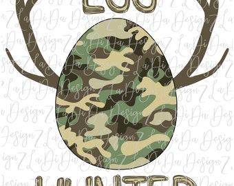 Egg Hunter Camo Egg with Antlers PNG DIGITAL Download Boy Easter