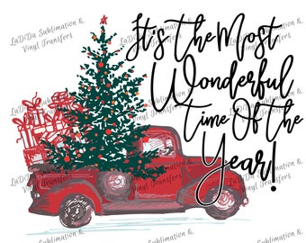 It's The Most Wonderful Time Of The Year Vintage Red Christmas Truck with Tree and Presents Sublimation Transfers - Ornaments