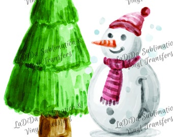 Watercolor Snowman and Christmas Tree with Hat and Scarf PNG Digital Download