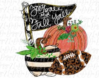 Football and Fall Y'all Pumpkin Flag SUBLIMATION Transfer - Orange Black White Stripes Leopard Flowers