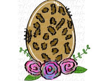 Leopard Egg Floral SUBLIMATION TRANSFER Floral Leopard Hand Drawn Easter