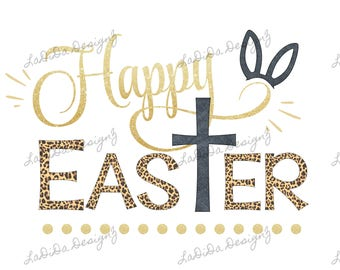 Happy Easter Cross Leopard and Gold Sublimation Transfers Rabbit / Bunny Ears