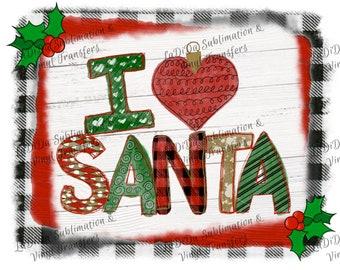 I Love Heart Santa in Plaid Frame VINYL Transfers Heart Ornament Argyle Buffalo Plaid Stripes Black White Check  with MaskHTV HTV