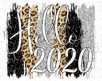Hello 2020 Silver Glitter Look Leopard and Black Speckles DIGITAL PNG File and Transparent File Frame Brush Strokes