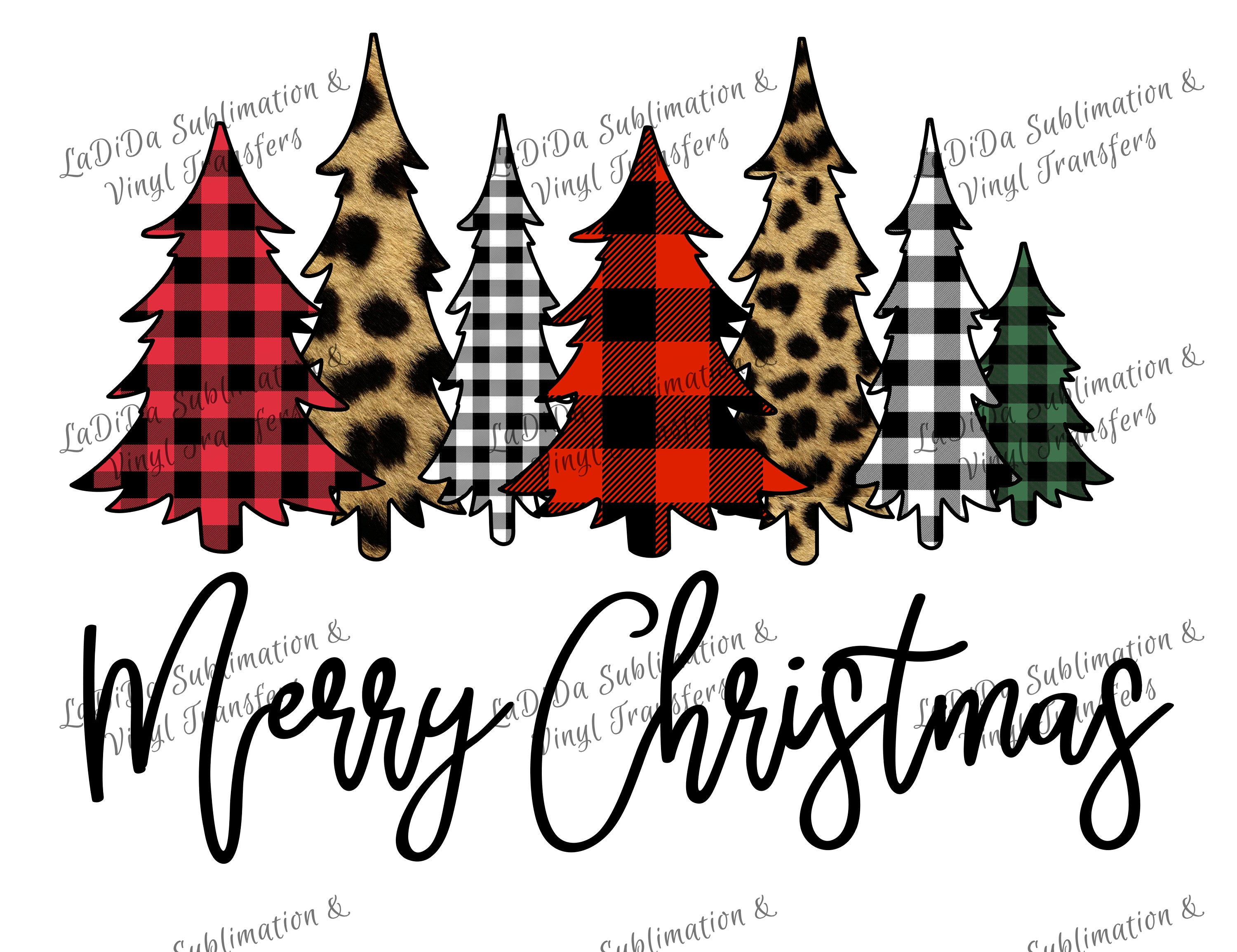 Merry Christmas Buffalo Plaid And Leopard Cheetah Christmas Trees Png Digital Download Green Red Black White