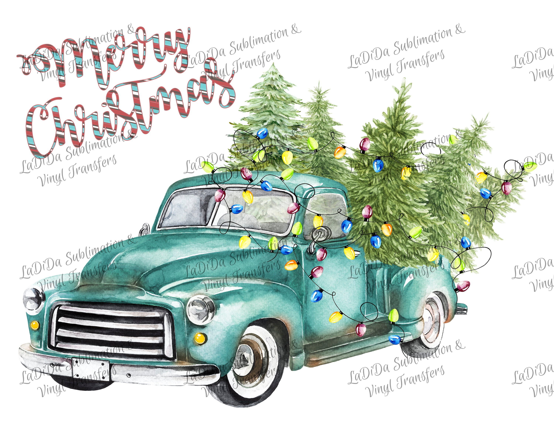 Vintage Blue Christmas Tree Truck Lights Sublimation