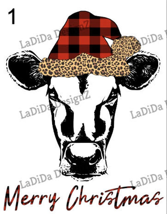 Christmas Cow.Merry Christmas Cow Plaid Leopard Hat Sublimation Transfers Christmas Buffalo Plaid Leopard