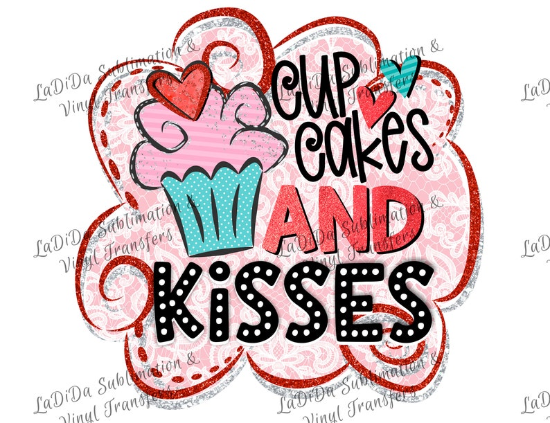 77dac70e21d9d Cupcakes and Kisses Sublimation Transfers Pink and Blue Cupcake with Heart  Pink Black Red