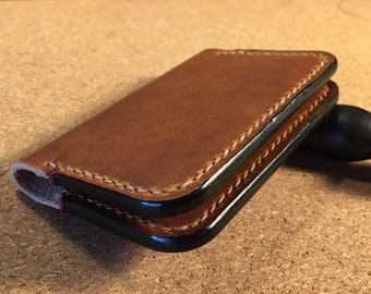 Handmade leather wallet - simple minimalist wallet for cards - leather card holder