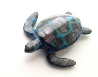 Ceramic sea turtle, ceramic sculpture Sardinia, Caretta caretta tiny sea turtle