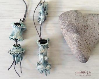 Sea creatures blue ceramic necklace