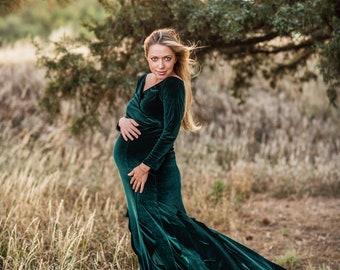 aa304a8783 Velvet Maternity Dress for Photo Shoot Plus Size Velvet