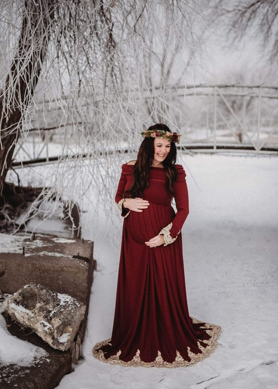 Winter Maternity Dress For Photos Maternity Christmas