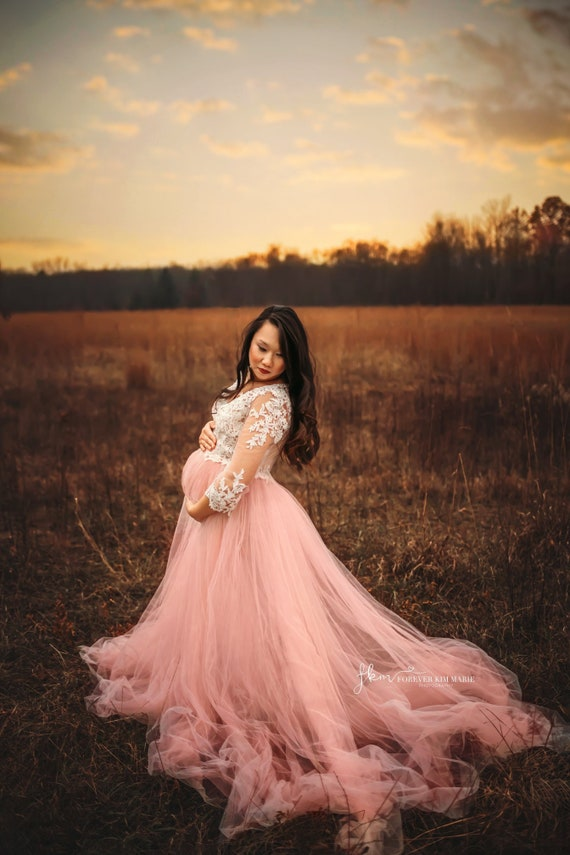 Blush Maternity Gown Maternity Photoshoot Dress Ivory Etsy