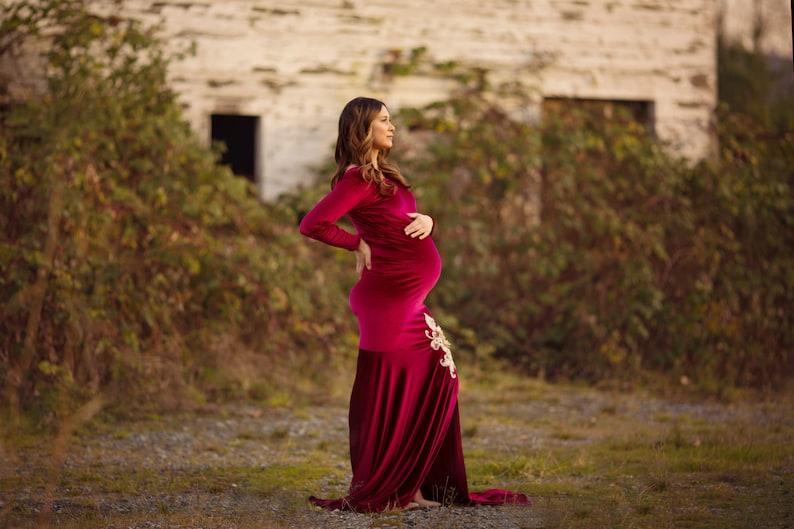 b94c6b3663 Gold Maternity Dress for Photoshoot Gold Velvet Dress