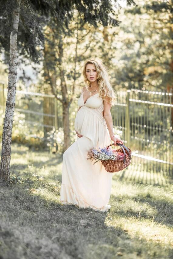 31f12585f22f7 Boho Maternity Dress for Photo Shoot Ivory Pregnancy Dress | Etsy