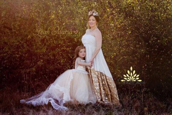 White and Gold Dress – Maternity Bridesmaid Dress - Plus Size Maternity  Dress – Bridesmaid Gown – Maternity Wedding Dress - Virginia