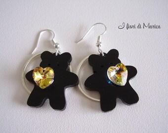 Black bear & Crystal Heart Earrings