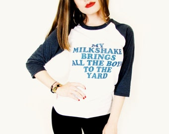 6607c87621 Vintage Style My Milkshake Brings All The Boys To The Yard - Kelis - UNISEX  T Shirt   Raglan   Baseball Jersey