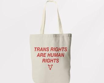 Trans Rights Tote Bag  / Shoulder Bag / Book Bag / Shopping Sachel / Graphic Logo Eco Friendly Bag Transgender LGBT Feminist Gay Pride