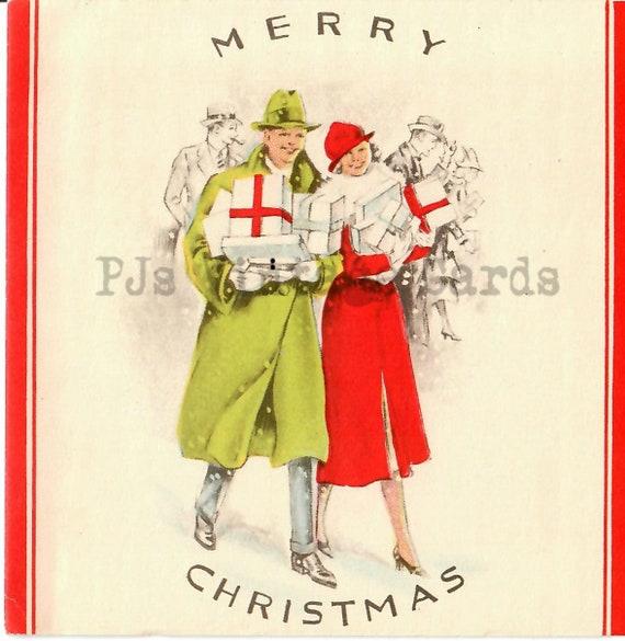 Vintage Christmas Card Digital Download Pretty 1930s Lady Girl Walking Dog Shopping i n the Snow