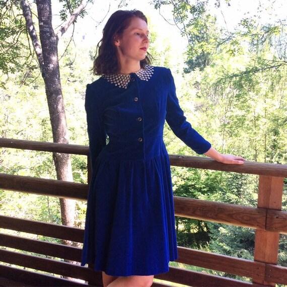 Royal blue handmade 1980's velvet dress