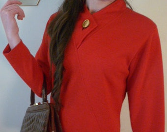 Fire engine red vintage X, Y WEILL 1960's  dress with gold button detail