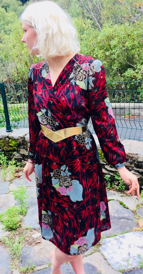 1980's French Vintage midi floral print dress