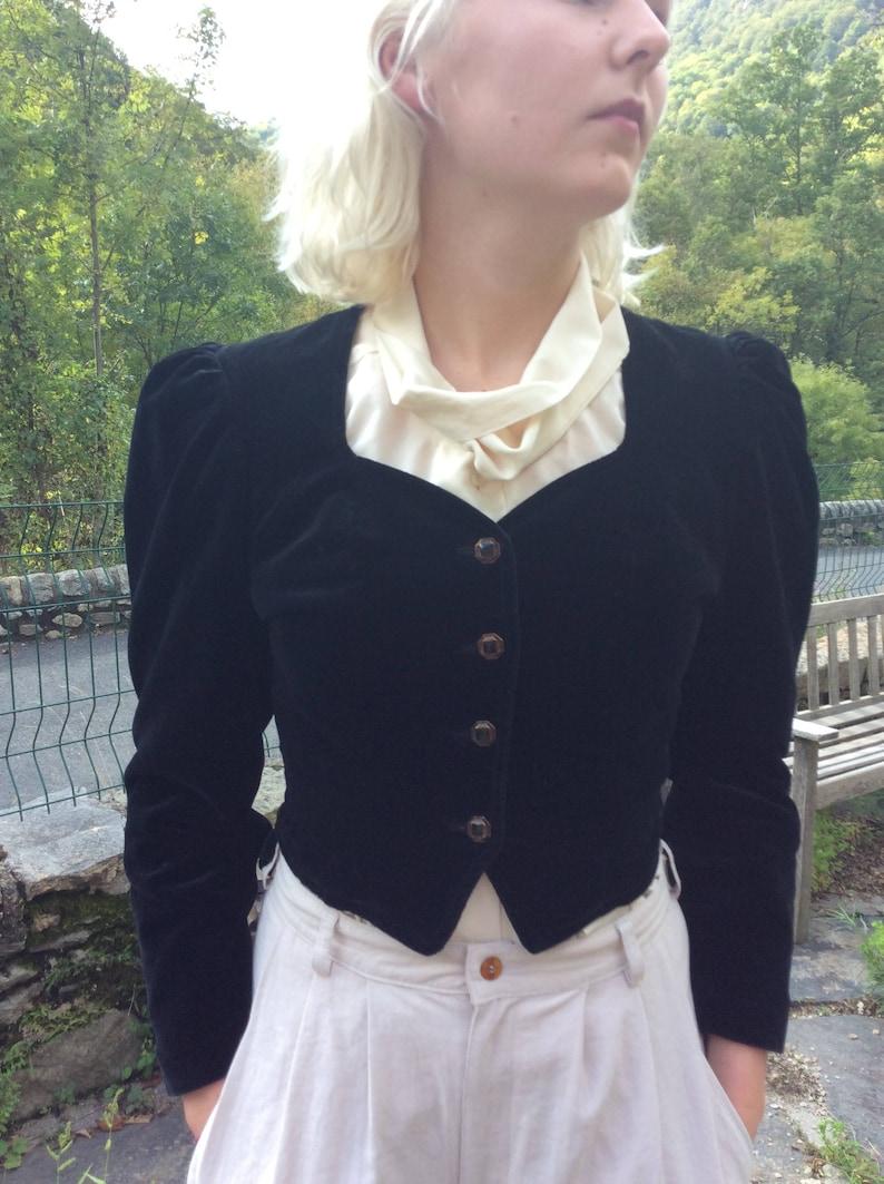 Black velvet fitted  frill tail dress jacket