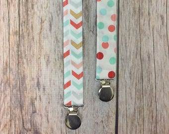 TWO Universal Pacifier Clips - Mint, Coral, & Gold Chevron Polka Dots - Pacifier Clip, Paci Clip, Binky Clip, Binky Holder, Baby Girl