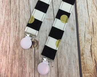 Universal Pacifier Clip - Black, Gold, and White - Stripes Polka Dots - Pacifier Clip, Paci Clip, Binky Clip, Binky Holder, Baby Girl