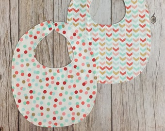 TWO Baby Girl Bibs - Mint, Coral, and Gold Chevron & Polka Dot - Fancy Bib - Drool Bib - Baby Shower Gift - Baby Girl Gift - Ready to Ship