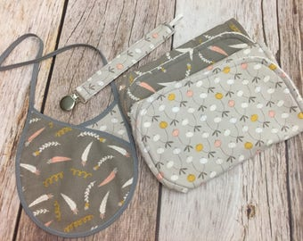 Baby Girl Gift Set - Gray Floral - Two Contoured Burp Cloths, Reversible Bib, and Universal Pacifier Clip - Baby Gift - Baby Shower Gift