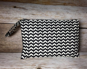 Modern Diaper Clutch with Wrist Strap - Gender Neutral Black & White -  Diaper Wipes Case, Wipes Holder, Diaper Carrier, Baby Shower Gift