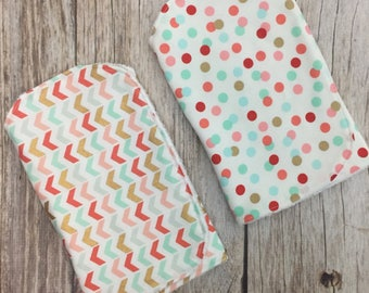TWO Contoured Burp Cloths - Coral, Mint, & Gold Chevron Polka Dot - Baby Girl Burp Cloth Set, Burp Clothes, Burp Rags, Spit Up Towels