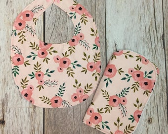 Baby Girl Gift Set - Pink Watercolor Floral - Contoured Burp Cloth and Bib - Baby Shower Gift, Baby Girl Gift Set, Burp Cloths, Floral - RTS