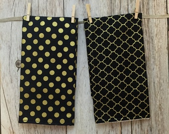 Two Baby Burp Cloths - Black and Gold Polka Dot and Quatrefoil - Baby Gift - Baby Girl Gift - Baby Shower Gift - READY TO SHIP