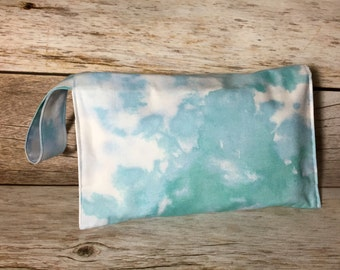 Modern Diaper Clutch with Wrist Strap - Watercolor Blue, Teal, Turquoise - Diaper Wipes Case, Wipes Holder, Diaper Carrier, Baby Shower Gift