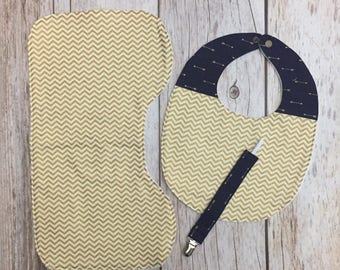 Chevron Arrows Patchwork Baby Gift Set - Contoured Burp Cloth, Bib, & Pacifier Clip - Navy Gold - Gender Neutral Baby Shower Gift
