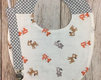Patchwork Baby Gift Set - Gender Neutral - Woodland Polka Dot - Bib & Universal Pacifier Clip - Baby Boy Girl Shower Gift - READY TO SHIP