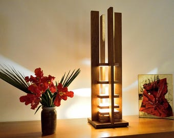 GENISTA: colored Oak and natural Beech lamp
