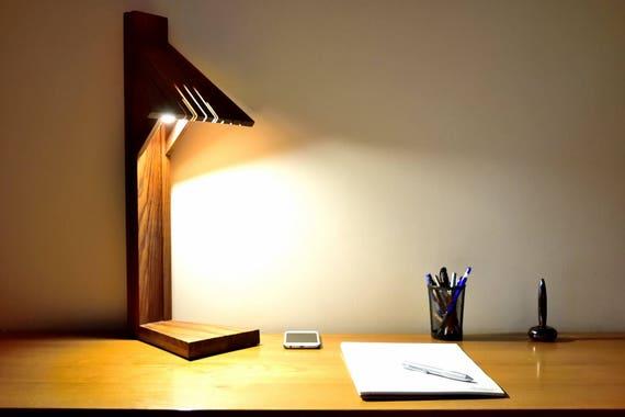 Lampe de bureau design luxe en bois massif éclairage led etsy