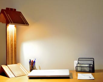 desk lamp, high end, design, massive wood, led lighting