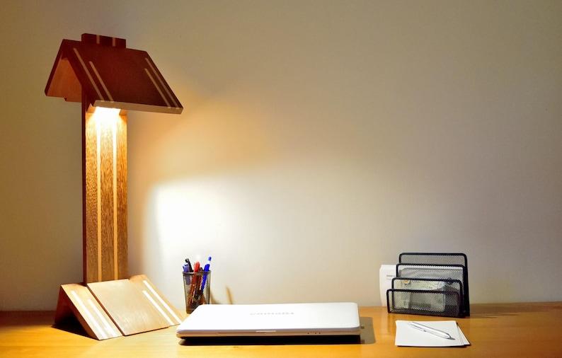Lampe De Bureau Design Haut De Gamme Bois Massif Eclairage Etsy