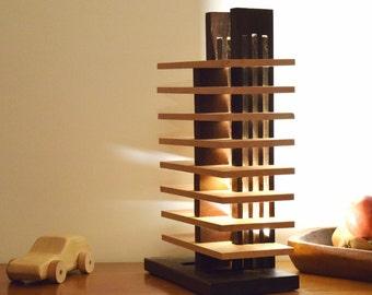 GESARO Lamp in Iroko and Beech oiled
